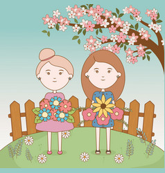 girls tree floral branch flowers bouquets cartoon vector image