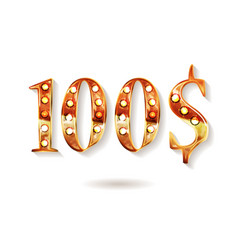gold 100 dollar coin vector image
