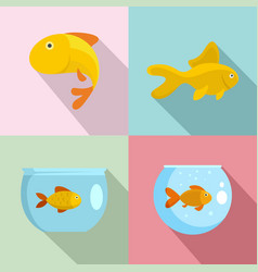 goldfish and fishbowl icons set flat style vector image