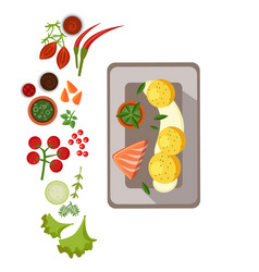 Grilled salmon on plate vector