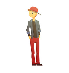 guy in red pants and cap young person street vector image