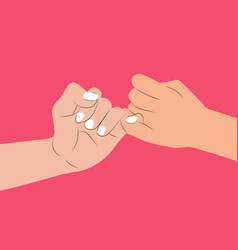 hand holding pink background vector image