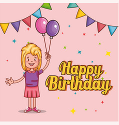 happy birthday card with little girl vector image