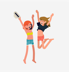 happy girls jumping vector image