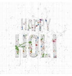 Happy Holi paper Words with color Splashes vector
