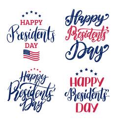 Happy presidents day handwritten phrases vector