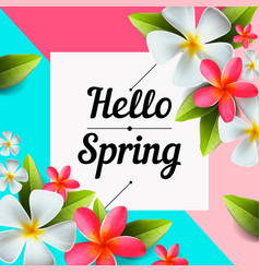Hello spring text banner flower design vector