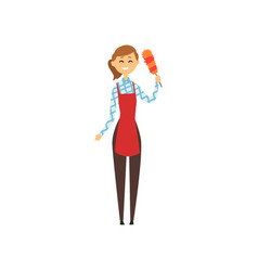 Hotel maid standing and holding dust brush vector