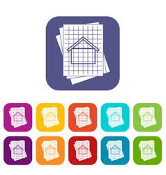 House blueprint icons set vector