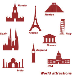 Icons of world sights vector