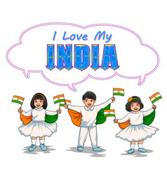 indian kid holding flag of india with pride vector image