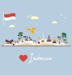 Indonesian map with animals and landmarks vector
