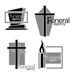 Interment and burial funeral agency services vector