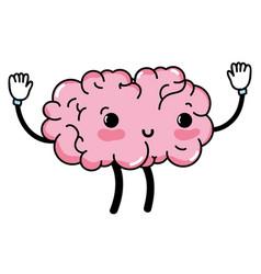 Kawaii cute happy brain with arms and legs vector
