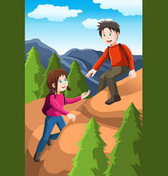 kids hiking vector image