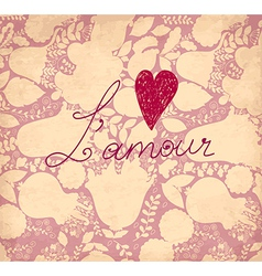 lamour on romantic background vector image