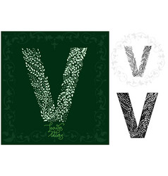 leaves alphabet letter v vector image