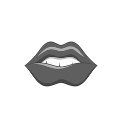 Lips icon black monochrome style vector