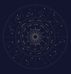 map zodiac constelattions vector image