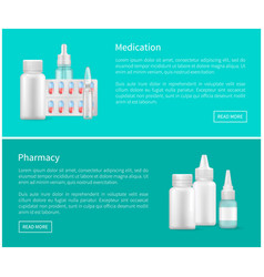 Medication and pharmacy web banners remedy set vector