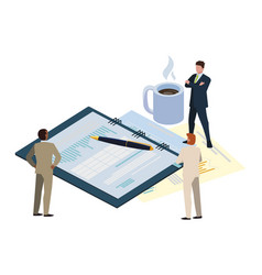 Mini business people with office notepad and set vector