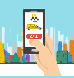 Mobile call to taxi service vector