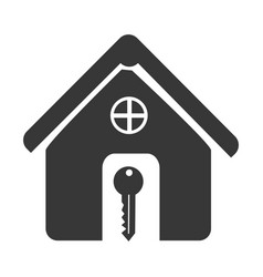monochrome silhouette house and key icon vector image