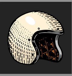 Motorcycle helmet retro casque for motor bicycle vector