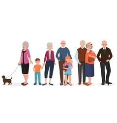 Old people grandparents couples set Granny with vector