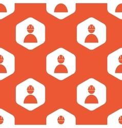 Orange hexagon builder pattern vector