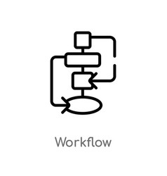 Outline workflow icon isolated black simple line vector