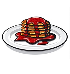 Pancakes with jam vector