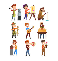 People hobby set cartoon male characters vector