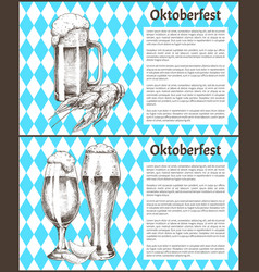 Pilsner tulip beer glass and mug with snack poster vector