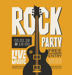 Poster for rock party with live music vector