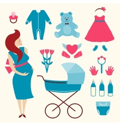 Pregnant Young Woman and Baby Clothes vector image