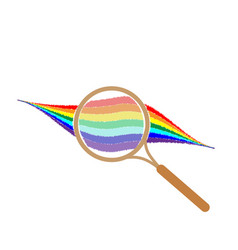 Rainbow with magnifier sign 105 vector