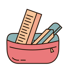 School education pencil case ruler and cutter vector