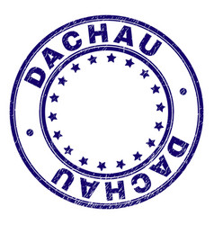 Scratched textured dachau round stamp seal vector