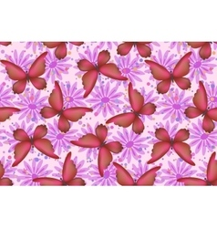 Seamless Pattern Butterflies and Flowers vector