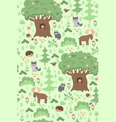 seamless pattern with forest animals and plants vector image
