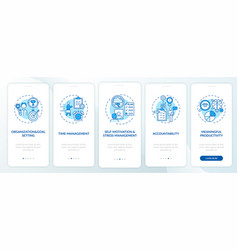 Self-management skills blue onboarding mobile app vector