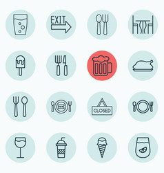 Set 16 cafe icons includes wineglass soda vector
