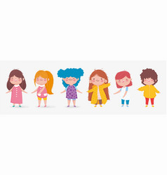 set cute kids boy and girl standing on white vector image