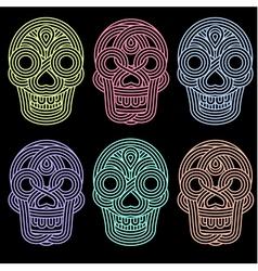 Set of parallel lines skulls on blackground vector