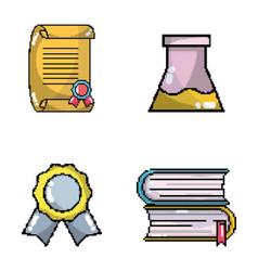 Set of school elements pixel art vector