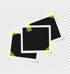 set of square frames template on sticky tape with vector image