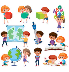 set of student with learning tools vector image