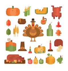 Set thanksgiving day colorful flat icons vector