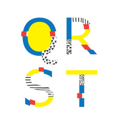 Set with abc letters q r s and t vector